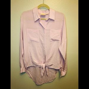 EUC Anthropologie Maeve Tie Front Blouse in Lilac